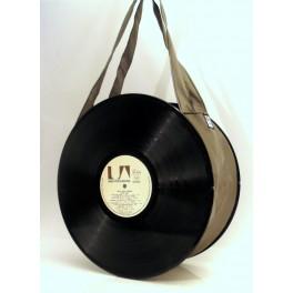 Sac disque vinyl 33 tours taupe