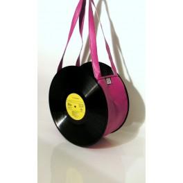 Sac disque vinyl 33 tours rose fuchsia